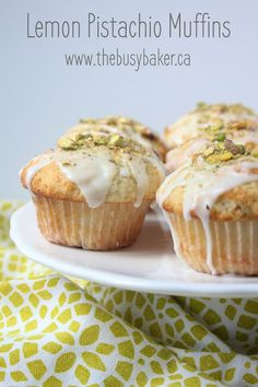 Lemon pistachio muffins are moist muffins packed with big flavour! This easy muffin recipe is one you'll want to make all summer long. Muffin Recipes, Brunch Recipes, Dessert Recipes, Bakery Recipes, Frosting Recipes, Pistachio Muffins, Pistachio Recipes, Lemon Recipes, Simple Muffin Recipe