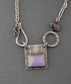 Hooked Necklace Purple Charoite by MaggieJs on Etsy