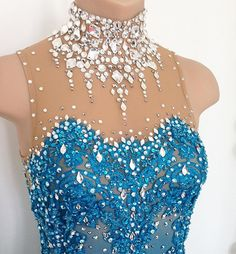 A close up look at one of my latest! Dripping in crystals And there are matching bracelets too #lisamckinnon #costumedesigner #figureskating #skating #custom #design #dress #skatingdress #dance #bridal #lace #turquoise #diamondnecklace #broadway #theater #musical #classy #bling #crystals #swarovski #airbrush #isu #usfigureskating #usfsa #jgp #junior #grandprix #tokyo #amylin