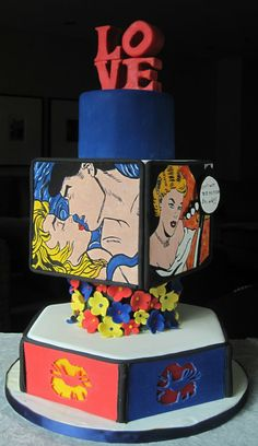 Lichtenstein-inspired cake