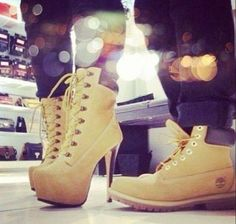 His Hers Timberland boots and heels swag fashion couples fashion Heeled Boots, Shoe Boots, Shoes Heels, Ankle Boots, Swag Shoes, Stiletto Boots, Ugg Boots, Dress Shoes, Outfit Timberland