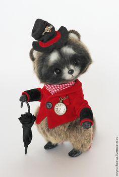 Купить Мистер Енот - серый, красный, черный, енот, шляпа, мистер, джентельмен, зонтик, зонтики