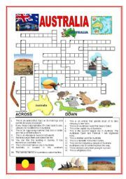 A crossword about Australia. Can be helpful to ESL students on learning both vocabulary and Australian history. See more worksheet on http://www.eslprintables.com/.