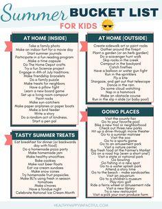Summer Bucket List For Teens, Summer Fun For Kids, Summer Fun List, Summer Plan, Summer Activities For Kids, Family Fun Activities, Kids Schedule, Business For Kids, Summer Checklist