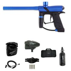 """Dangerous Power E1 Paintball Marker - Blue Super Remote ER Overdrive N2 Bag Combo by Dangerous Power. $298.99. Included 7 items in this package: 1. Dangerous Power E1 Paintball Marker - Blue/Black (Description: Micro-switch board capable of firing in Semi-auto mode and Full-auto fire capped at 25 bps, High pressure regulator operation is service-friendly and easy to maintain, Dump Valve system is one of the finest and very efficient firing systems, 9.5"""" Single Barr..."""