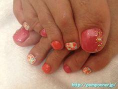 マーブル模様とオレンジ系のフットネイル  Foot Nail orange and marble pattern