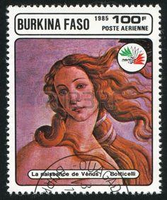 Birth of Venus, Botticelli, stamp printed by Burkina Faso,circa 1985