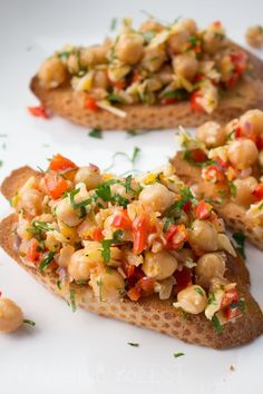 Light, fresh, quick and easy, these chickpea crostini's will make a great appetiser option for any type of gathering. TRY THESE OMG!!