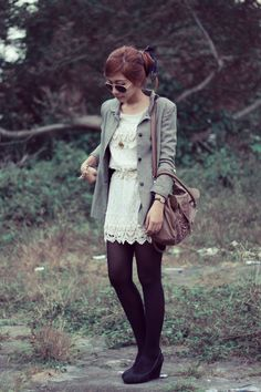 formal jacket + lace dress + stocking = cute! | claradevi of Lucedale