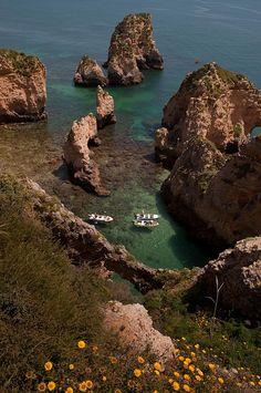 """""""Rock formations at Ponta da Piedade, Algarve Coast, Portugal (by Paul Brink). """""""