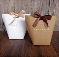 Size: S - 20x Kraft 350gsm Paper Cardboard Thank You Gift Bag for Wedding Birthday Xmas Party Lolly