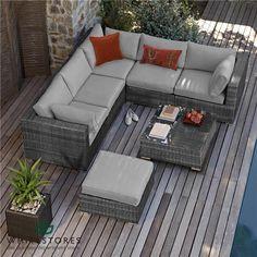 Maze Rattan - London Corner Sofa Set - Grey   White Stores