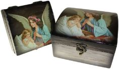 Wholesale Angel Boxes This tasteful and finely crafted angel boxes range is a lovely way to cherish the mementoes and keepsakes of your own little angel. Each box is made of wood and covered in shiny effect picture of Angels.