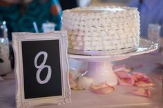 Use a cake at every table as the centerpiece- all different flavors! Looks great and people can try pieces from all different cakes.