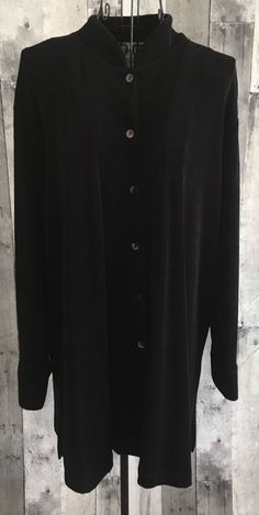 Chicos Travelers Stretch Knit Cardigan Jacket Top Blouse Tunic Black 3/XL 16 #Chicos #JacketBlouse