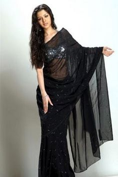 Designer Saree | Bollywood Saree | Bridal Saree: Vedika in Black Saree & Halter Neck Saree Blouse