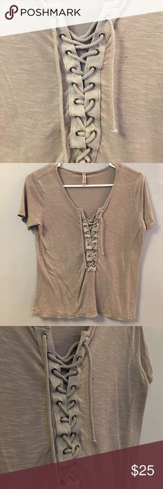 ⚡️Lace-up T Shirt Lace-up T Shirt from LF in a taupe-purple color LF Tops Tees - Short Sleeve