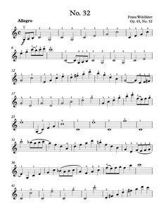 Free Violin Sheet Music - Wohlfahrt Etude Op. 45, No. 32