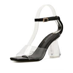 Black Ankle Strap Clear Block Heel Sandals Clear Block Heels, Ladies Sandals, Ankle Strap, Lady, Shoes, Fashion, Sandals, Moda, Zapatos