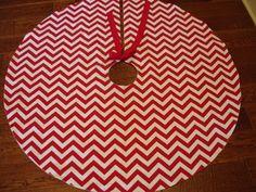 30 Red Chevron Christmas Tree Skirt Red and by KaysGeneralStore, $35.00 ......chevron tree skirt, heck yes!