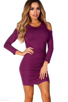 Jersey Bodycon Purple Dress with Sleeves and Cold Shoulder Cut Outs