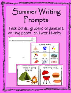 Illustrated summer writing prompts.