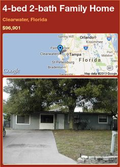 4-bed 2-bath Family Home in Clearwater, Florida ►$96,901 #PropertyForSale #RealEstate #Florida http://florida-magic.com/properties/76226-family-home-for-sale-in-clearwater-florida-with-4-bedroom-2-bathroom