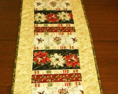 Set of 6 Christmas patchwork quilted placemats traditional