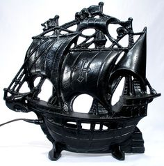 Vintage Nautical Schooner Sail Boat Pirate Ship Cast Iron TV Television Lamp Light http://www.rubylane.com/item/1317328-6456/Vintage-Nautical-Schooner-Sail-Boat-Pirate View My Shop at http://www.rubylane.com/shop/utiques-antiques