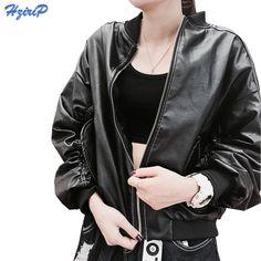 Big sale US $27.53  HziriP 2017 New Autumn Baseball Coat Bat Sleeve Loose Fashion Handsome Ladies Basic Street Women Short PU Leather Biker Jacket  . Get here: Brown Leather Jacket.