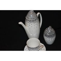 "coffee service ""Tom"", designer J.Steckiewicz 1958, jug, cup and sugar bowl, decoration   Ludmiła Pokorna (Pokornianka), avant-garde form, signature Table Porcelain Factory ""Walbrzych""."