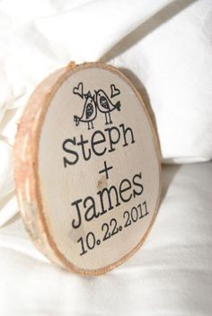 Wooden Magnet Favors :  wedding diy favors magnets reception rustic stamping wood DSC03724