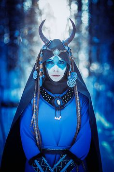 Elena Samko - Blue shaman Cosplay. Make-up/costume - Elena Samko