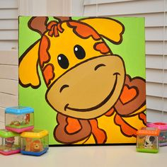 Gerry the Giraffe  Cute Fun Original Painting for by LiaDiaDesigns, $35.00