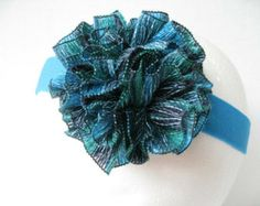 Sashay yarn flower | Women or teen turquoise sashay yarn flower headband ...