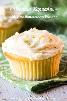 These Coconut Cupcakes with Lime Buttercream Frosting are tender, full of coconut flavor and have the most amazing lime flavored buttercream ever!