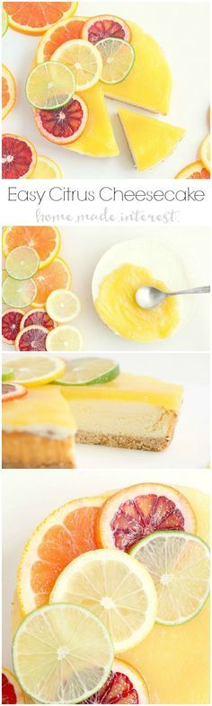 A simple lemon curd and fresh slices of blood oranges, lemons, and limes dress up this Sara Lee cheesecake for a fast spring and summer dessert. #SaraLeeDesserts #Pmedia #ad @saraleedesserts @foodlion