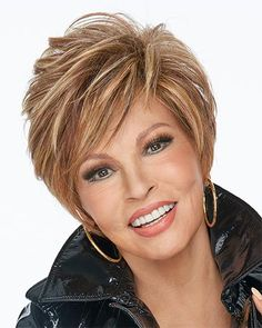 On your Game by Raquel Welch Wigs - Heat Friendly Synthetic, Lace Front, Partial Monofilament Wigs Bob Hairstyles For Thick, Short Layered Haircuts, Short Razor Haircuts, Sassy Haircuts, Short Haircut, Raquel Welch Wigs, Monofilament Wigs, Short Hair With Layers, Short Hair Cuts For Women Over 50
