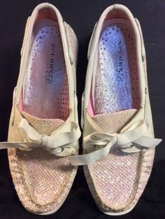 Sperry Top-Sider Womens Bahama 2 Eye White/Pink Sequin size 6.5M  #SperryTopSider #BoatShoes #Casual