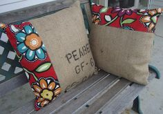burlap ~ I'm thinking I should make these for my deck and patio chairs. What do you think? by angelia Burlap Coffee Bags, Coffee Sacks, Burlap Pillows, Decorative Pillows, Throw Pillows, Burlap Projects, Burlap Crafts, Sewing Crafts, Sewing Projects