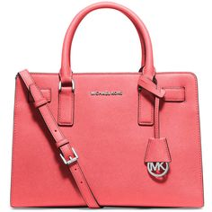 MICHAEL Michael Kors Dillon East-West Saffiano Satchel Bag ($298) ❤ liked on Polyvore featuring bags, handbags, coral, zipper handbag, zipper bag, red satchel, satchel style handbags and red purse