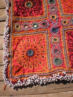 Embroided Afghan Vintage Tribal Textile