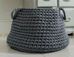 Eco-friendly cotton grey basket ZURI by nebozuri on Etsy