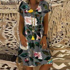 Women Summer Short Sleeve Cotton Linen Dress Vestido Robe Kaftan Femme Vintage V Neck Floral Printed Party Sundress Color Dark Grey Size S Long Sleeve Mini Dress, Short Sleeve Dresses, Dresses With Sleeves, Short Sleeves, Summer Dresses For Women, Buy Dress, Plus Size Dresses, Mini Dresses, Holiday Dresses
