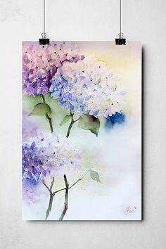 Blumen Aquarelle – Studio Jais - New Deko Sites Sketch Painting, Watercolor Artwork, Watercolor Illustration, Watercolor Flowers, Art Floral, Pintura Graffiti, Hydrangea Painting, Painting Inspiration, Flower Art