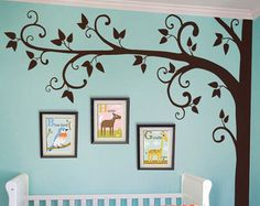 Tree Wall Decal - Nursery Wall Decoration - Tree Wall Sticker - Corner Tree decal - Large: approx 95 x 95 - Nursery Wall Decals, Vinyl Wall Decals, Wall Sticker, Tree Wall Decor, Wall Art Decor, Room Decor, Tree Decals, Baby Decor, Kids Decor