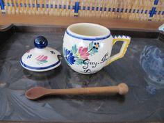 Quimper Mustard Pot w/Wooden Spoon, Grey Poupon 1777  www.facebook.com/FrenchAntiques4u