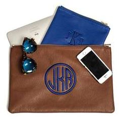 Large Personalized Leather Pouch