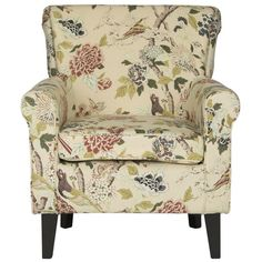 An elegant English chintz fabric recalls the country manor look in this classic easy chair with roll arms and plumb seat cushion. Finished with dark brown legs crafted from birch wood, this cozy seat is pretty in living room, family room or master suite. Chair Types, Barrel Chair, Cafe Chairs, Metal Chairs, Leather Chairs, Chairs For Sale, Living Room Chairs, Dining Room, Accent Chairs