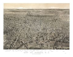 Newark, New Jersey with the Passaic River in foreground; prominent features listed 1874. NJ0003 Reproduction Vintage Bird's Eye View Map.
